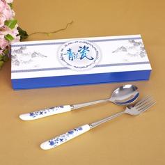 Blau-weiße Keramik Entwurf Edelstahl Löffel und Gabel Set (051026881)