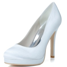 Women's Satin Stiletto Heel Closed Toe Platform Pumps (047057100)