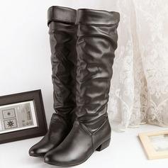 Donna Similpelle Tacco spesso Stivali al ginocchio con Con risvolto scarpe (088103147)