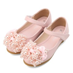 Mädchens Geschlossene Zehe Leder Flache Ferse Flache Schuhe Blumenmädchen Schuhe mit Bowknot Nachahmungen von Perlen Klettverschluss (207112584)