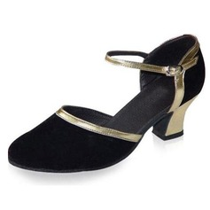Women's Leatherette Nubuck Heels Pumps Ballroom With Buckle Dance Shoes (053021382)