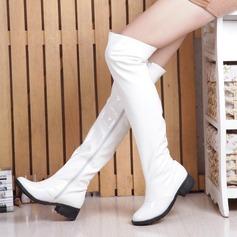 Frauen Lackleder Niederiger Absatz Geschlossene Zehe Stiefel Kniehocher Stiefel Stiefel über Knie Reitstiefel mit Reißverschluss Schuhe (088170997)