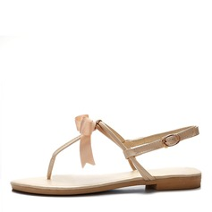 Leatherette Flat Heel Sandals Flip-Flops With Bowknot shoes (087047496)
