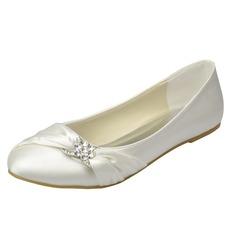 Frauen Satin Flascher Absatz Geschlossene Zehe Flache Schuhe mit Strass (047065601)