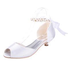 Frauen Satin Kätzchen Absatz Peep Toe Sandalen mit Nachahmungen von Perlen Zuschnüren (047066036)