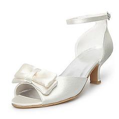 Women's Satin Spool Heel Peep Toe Sandals With Bowknot (047025589)