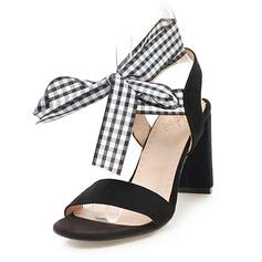 Donna Camoscio Tacco spesso Sandalo Stiletto con Allacciato scarpe (087171529)