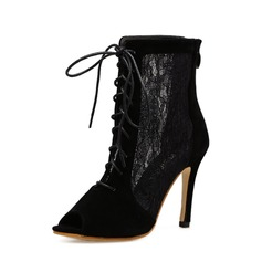 Frauen Veloursleder Lace Stöckel Absatz Absatzschuhe Stiefel Peep Toe Stiefelette mit Reißverschluss Zuschnüren Schuhe (088151844)