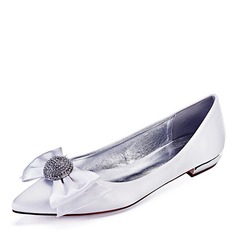 Women's Leatherette Flat Heel Closed Toe Flats With Bowknot (047192753)