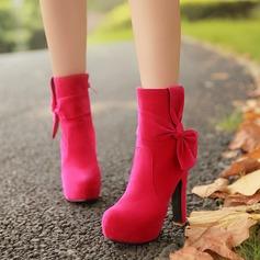 Frauen Veloursleder Stämmiger Absatz Absatzschuhe Plateauschuh Stiefel mit Bowknot Reißverschluss Schuhe (088140249)