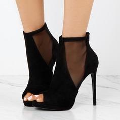 Frauen Veloursleder Mesh Stöckel Absatz Absatzschuhe Stiefel Peep Toe Stiefelette mit Reißverschluss Schuhe (088151846)