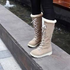 Frauen Veloursleder Flascher Absatz Stiefel Schneestiefel mit Zuschnüren Schuhe (088140237)