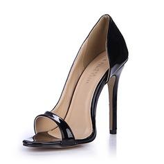 Frauen Lackleder Stöckel Absatz Sandalen Absatzschuhe Peep Toe Schuhe (087051694)
