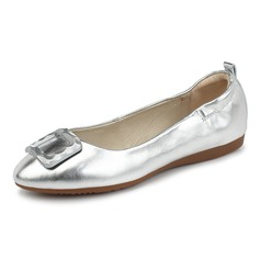 Kvinner Lær Flat Hæl Flate sko Lukket Tå sko (086092180)