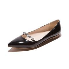 Kvinner Lær Flat Hæl Flate sko Lukket Tå med Crystal sko (086094930)