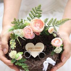 Vogelnest Zweig Ringhalter mit Künstliche Blumen (103203899)