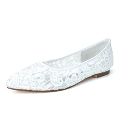 Women's Lace Flat Heel Closed Toe Flats (047057092)