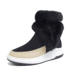 Frauen Veloursleder PU Keil Absatz Stiefel Stiefel-Wadenlang Schneestiefel mit Reißverschluss Schuhe (088146808)