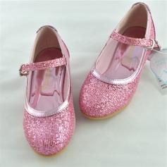 Mädchens Geschlossene Zehe funkelnden Glitter niedrige Ferse Flache Schuhe Blumenmädchen Schuhe mit Funkelnde Glitzer (207121995)