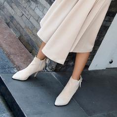 Frauen PU Stöckel Absatz Absatzschuhe Geschlossene Zehe Stiefelette mit Bowknot Zweiteiliger Stoff Schuhe (088145049)