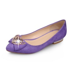 Suede Low Heel Flats Closed Toe met Strik Lovertje schoenen (086062869)