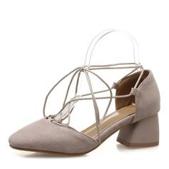 Donna Camoscio Tacco spesso Sandalo Punta chiusa con Allacciato scarpe (085172778)