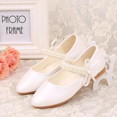 Ragazze Punta chiusa finta pelle Heel piatto Scarpe Flower Girl con Perline Bowknot Velcro (207123044)