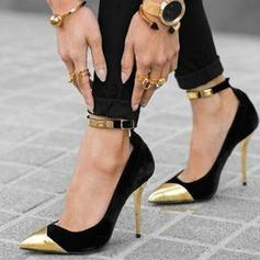 Frauen Veloursleder Stöckel Absatz Sandalen Absatzschuhe Geschlossene Zehe mit Pailletten Schnalle Schuhe (085124943)