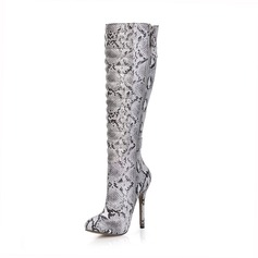 Frauen Kunstleder Stöckel Absatz Geschlossene Zehe Stiefel Kniehocher Stiefel mit Schnalle Tierdruckmuster Reißverschluss Schuhe (088095433)