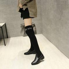 Frauen PU Flascher Absatz Flache Schuhe Kniehocher Stiefel mit Gummiband Schuhe (088138216)