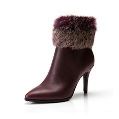 Femmes Similicuir Talon stiletto Escarpins Bottines avec Fourrure chaussures (088057405)