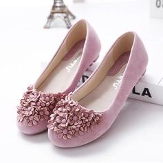 Frauen Wildleder Flascher Absatz Flache Schuhe Geschlossene Zehe mit Strass Satin Schleife Schuhe (086118814)