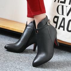 Frauen PU Stöckel Absatz Absatzschuhe Stiefel Stiefelette mit Schnalle Reißverschluss Schuhe (088137538)