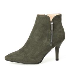 Frauen Veloursleder Stöckel Absatz Absatzschuhe Geschlossene Zehe Stiefelette mit Reißverschluss Quaste Schuhe (088145047)