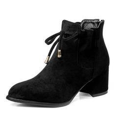 Femmes Suède Talon bottier Escarpins Bottes Martin bottes avec Dentelle chaussures (088190935)