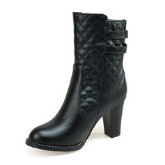 Frauen Kunstleder Stöckel Absatz Absatzschuhe Geschlossene Zehe Stiefel Kniehocher Stiefel Stiefel-Wadenlang mit Schnalle Reißverschluss Schuhe (088170995)
