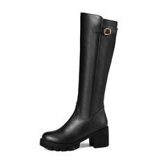 Donna Similpelle Tacco spesso Stivali Stivali al ginocchio con Fibbia scarpe (088190958)