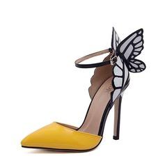 Frauen PU Stöckel Absatz Sandalen Absatzschuhe Geschlossene Zehe mit Bowknot Schmuckabsatz Schuhe (085132698)