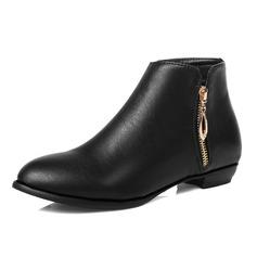 Frauen Kunstleder Flascher Absatz Stiefelette Schuhe (088092986)