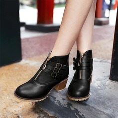 Frauen Kunstleder Stämmiger Absatz Flache Schuhe Geschlossene Zehe Stiefel mit Schnalle Reißverschluss Schuhe (088126576)