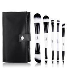 Artificial Fibre Basic 5Pcs Black PU Bag Makeup Supply (046074626)