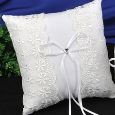 Elegant Ring Pillow in Satin/Lace/Polyester With Bow (103190785)