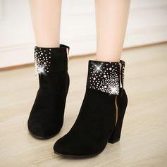 Frauen Wildleder Stämmiger Absatz Stiefel mit Kristall Reißverschluss Schuhe (088109387)