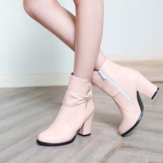 Frauen PU Stämmiger Absatz Absatzschuhe Stiefel mit Bowknot Reißverschluss Schuhe (088140251)