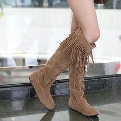 Frauen Wildleder Flascher Absatz Flache Schuhe Geschlossene Zehe Kniehocher Stiefel Schuhe (088094821)