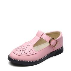 Ragazze Punta chiusa finta pelle Heel piatto Ballerine Scarpe Flower Girl con Velcro Cava-out (207153182)
