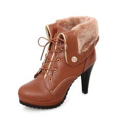 Vrouwen Kunstleer Stiletto Heel Plateau Enkel Laarzen met Gesp schoenen (088033804)