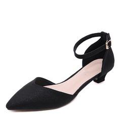 Donna Pelle microfibra Tacco basso Stiletto Punta chiusa con Fibbia scarpe (085175369)