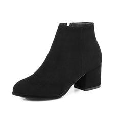 Kunstleder Stämmiger Absatz Stiefelette mit Reißverschluss Schuhe (088101085)