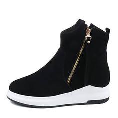 Frauen Veloursleder Flascher Absatz Flache Schuhe Stiefelette mit Reißverschluss Schuhe (088144276)